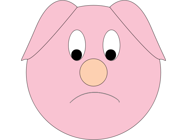 Sad Pig Clipart.