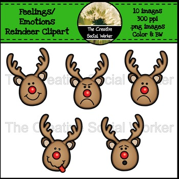Christmas Feelings / Emotions Reindeer Clipart.