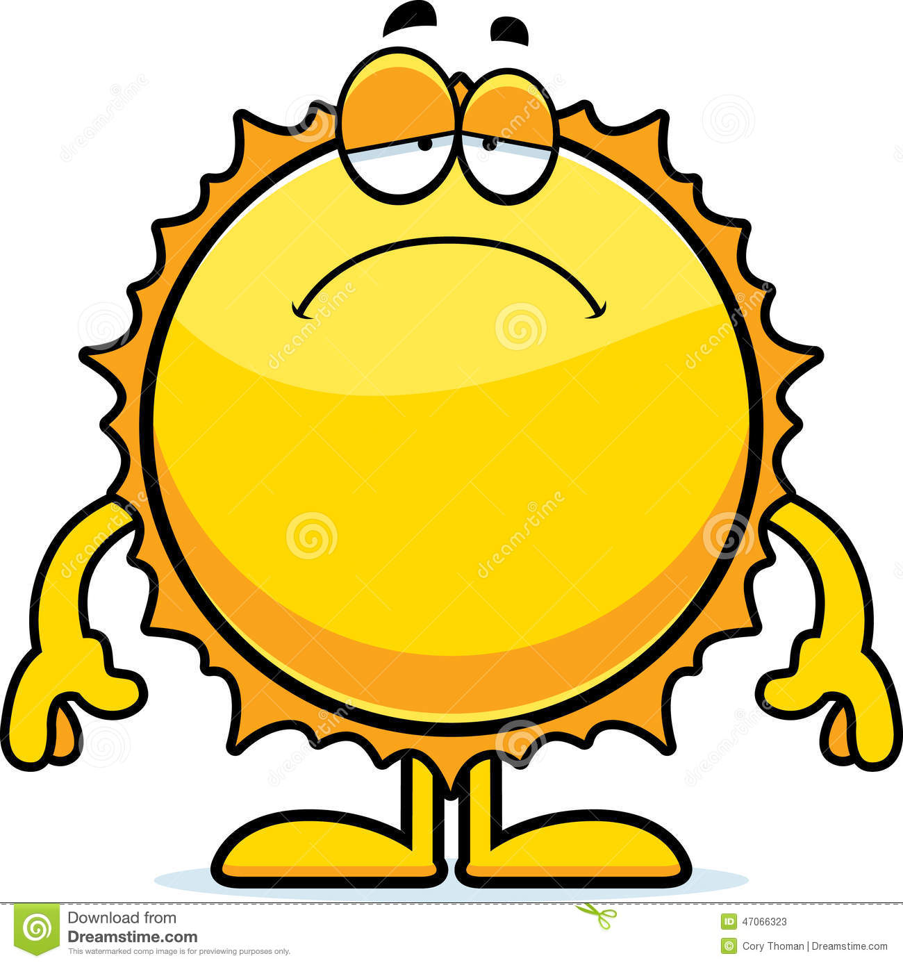 Sad Cartoon Sun Stock Vector.