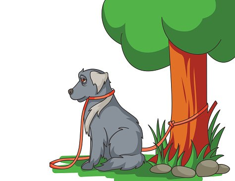 Sad abandoned dog with lead tied to the tree Clipart Image.