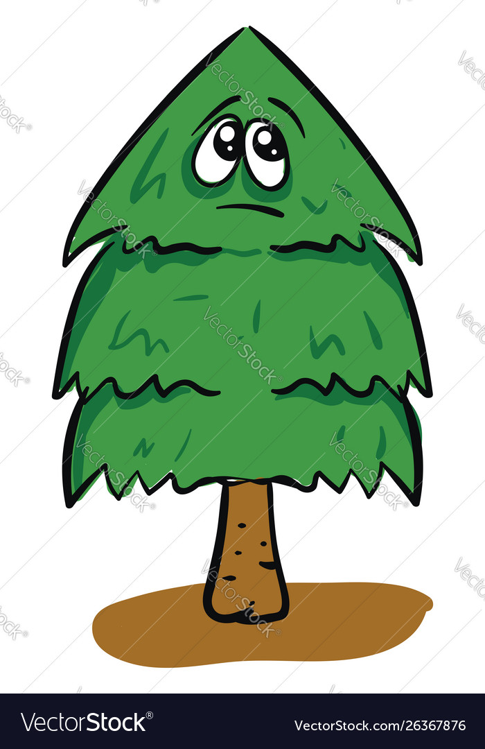 Sad christmas tree on white background vector image.