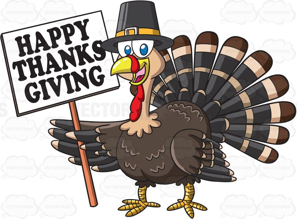 A turkey holding a thanksgiving sign #cartoon #clipart.