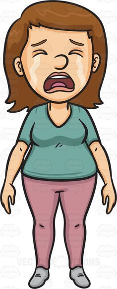 A Sad Woman Crying Out Loud #cartoon #clipart #vector.