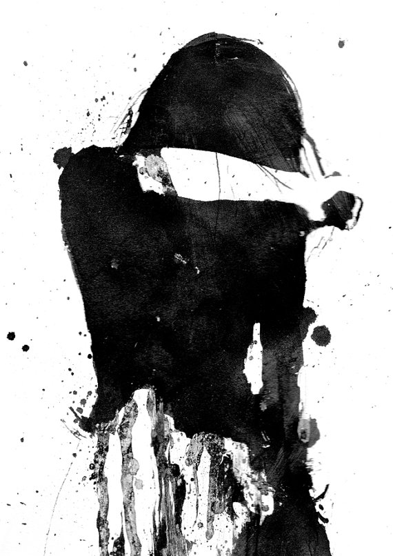 Cry Girl, Black and White Art, Acrylic Painting, Giclee Print, Sad.