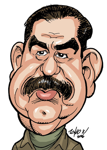 Caricatures of Saddam Hussein by artists from About Faces.