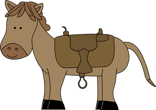 Horse with Saddle Clip Art.