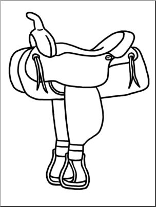 Clip Art: Western Theme: Saddle B&W I abcteach.com.