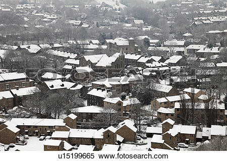 Stock Image of England, Lancashire, Uppermill, A view over the.