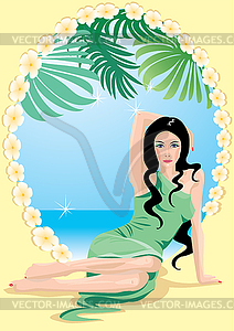 Oval frame with beautiful woman and sea sade.