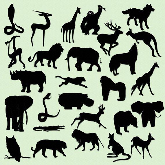 Safari Jungle Animal Silhouettes Clip Art.
