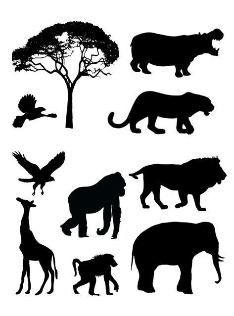 Silhouette Animaux Jungle.