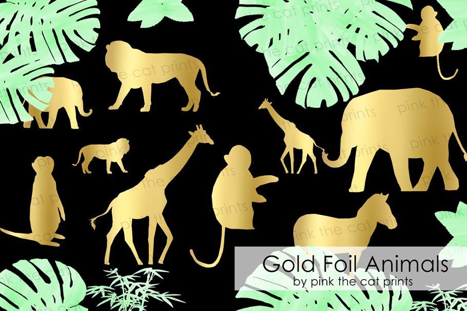 Gold Foil Safari Animals Clipart.