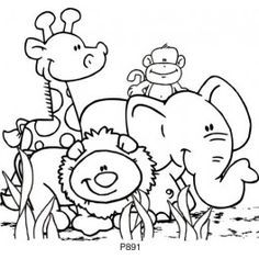 Jungle Animals Clip Art Black and White.