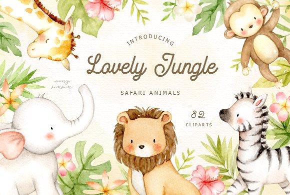 Lovely Jungle Safari Animals Clipart.