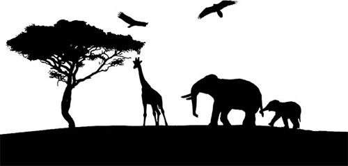 Giraffe elephants jungle safari silhouette digital download.