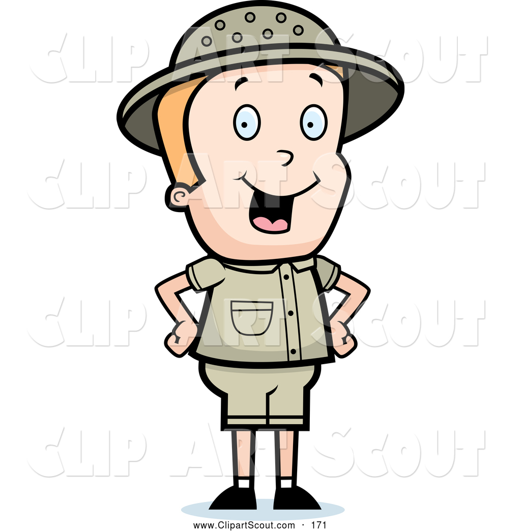 Clipart of a Cute Safari Boy Standing with His Hands on His.