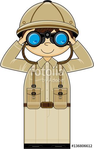 Cute Cartoon Safari Explorer with Binoculars\