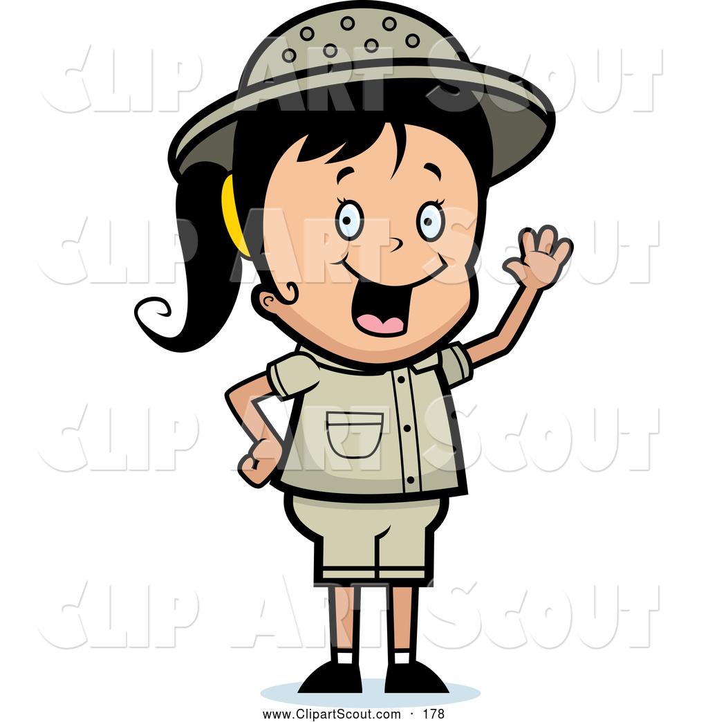 Clipart of a Cute Waving Happy Safari Girl by Cory Thoman.