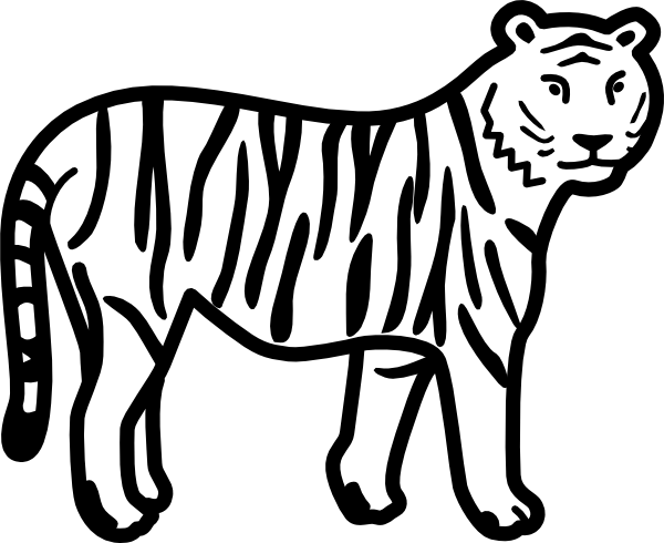 free vector Tiger Standing Looking And Watching Outline clip art.
