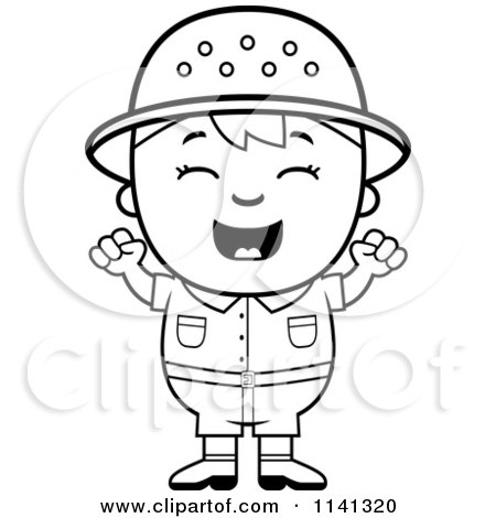 Cartoon Clipart Of A Black And White Happy Safari Boy Cheering.