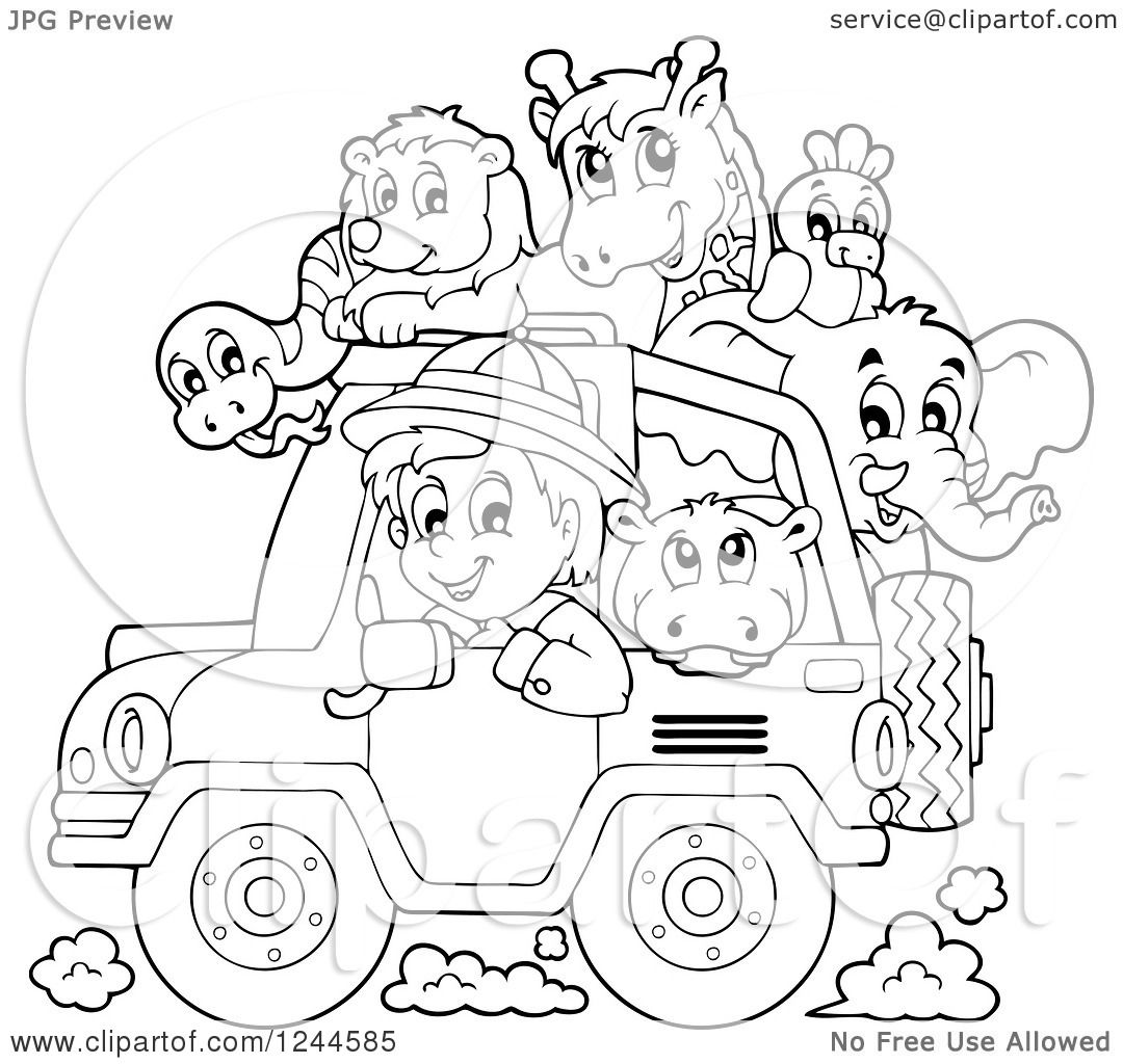 Clipart of a Black and White Safari Boy Driving a Jeep Full of.