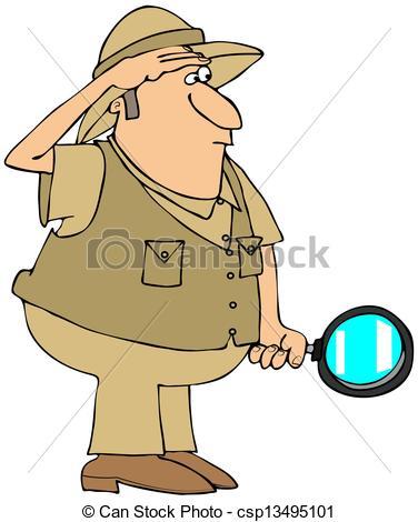 Safari man with magnifying glass.