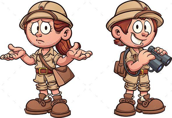 Explorer kids in safari outfits. Vector clip art cartoon.