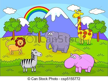 Vector Illustration of Safari Animal carton csp5155772.