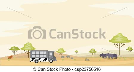 Vector Clip Art of Safari Park Tour Background.