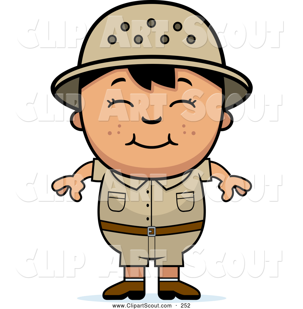 Clipart of a Cute and Happy Asian Safari Boy by Cory Thoman.