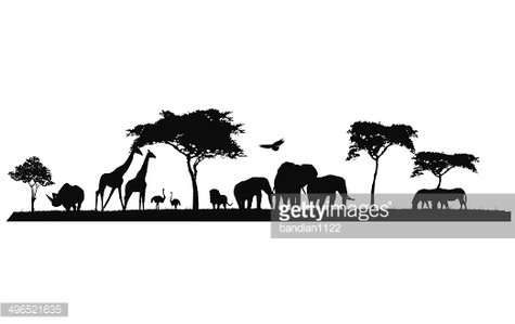 beauty silhouette of safari animal wildlife Clipart Image.