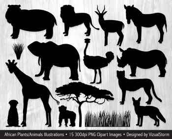 African Animal Silhouette Clipart, Hand Drawn Jungle Safari Animal  Illustrations.