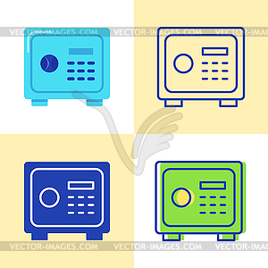 Safe box icon set in flat and line style.