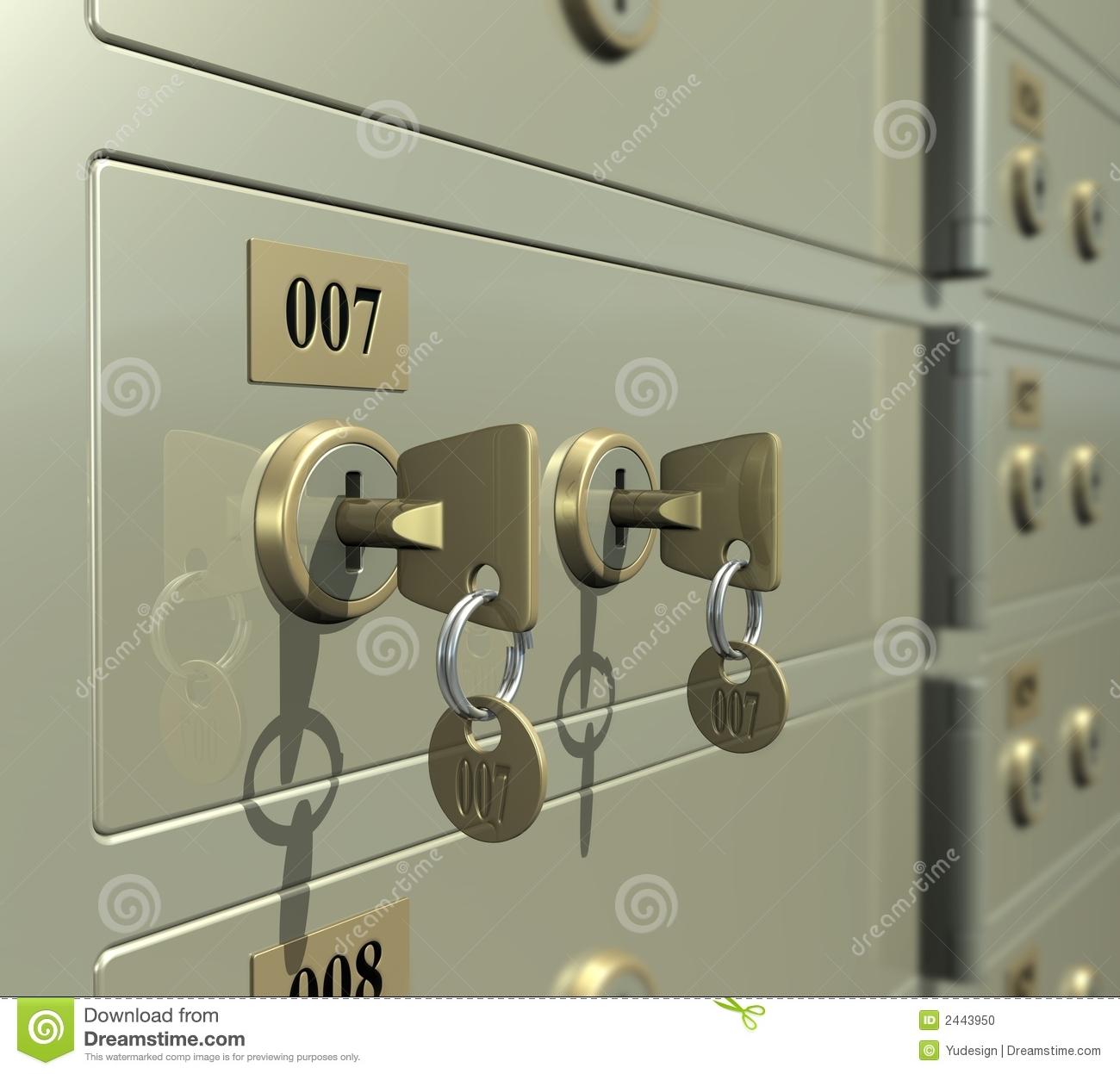 Safe Deposit Box Stock Photo.