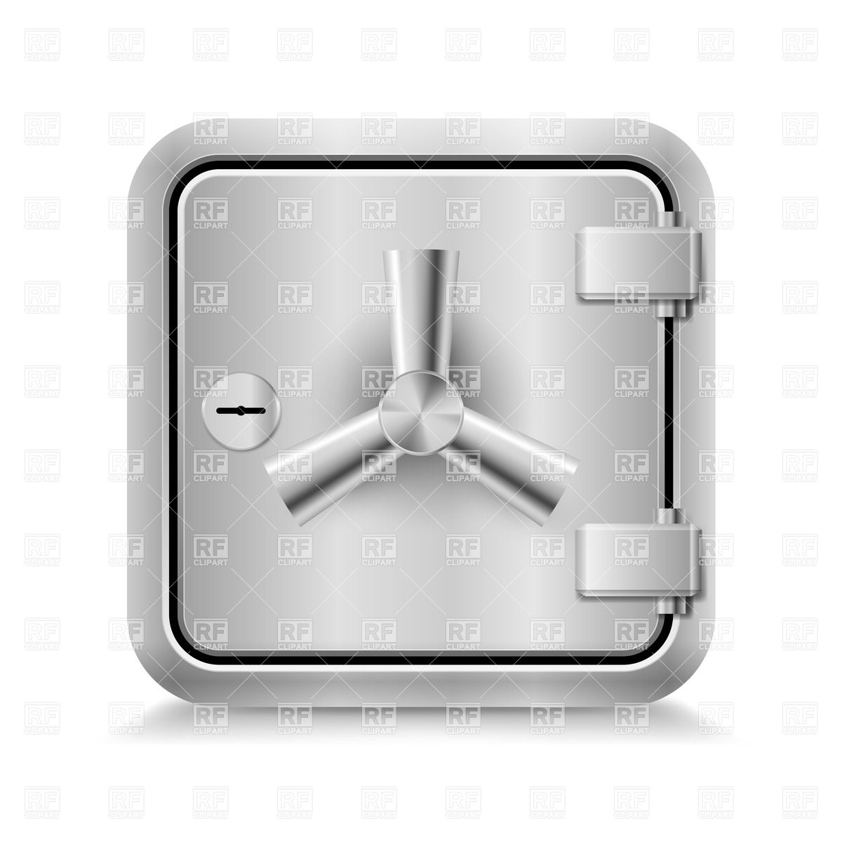 Icon of metal safe with key lock on white background Vector Image.