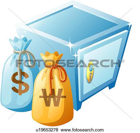 Clipart of cashbox, finance, safe, key, won, lock, icon u11388731.