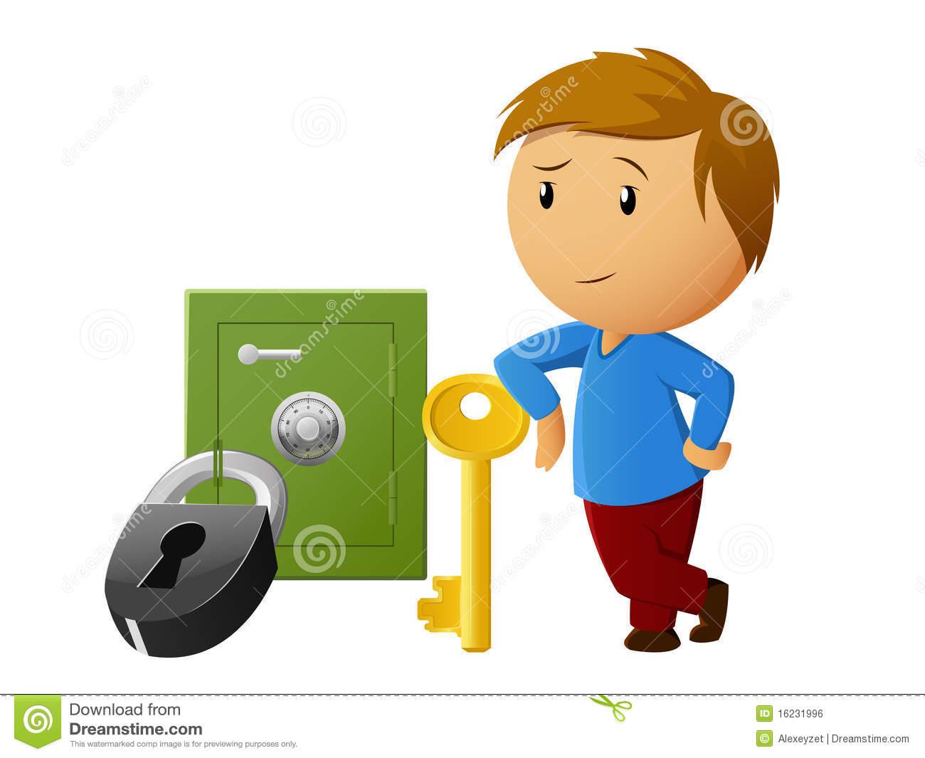 Boy Rest With Key And Locked Safe On Background Royalty Free Stock.