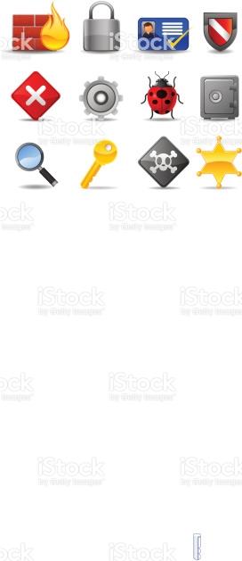 Web Security Icon Set Firewall Badge Locked Safe Key Password.