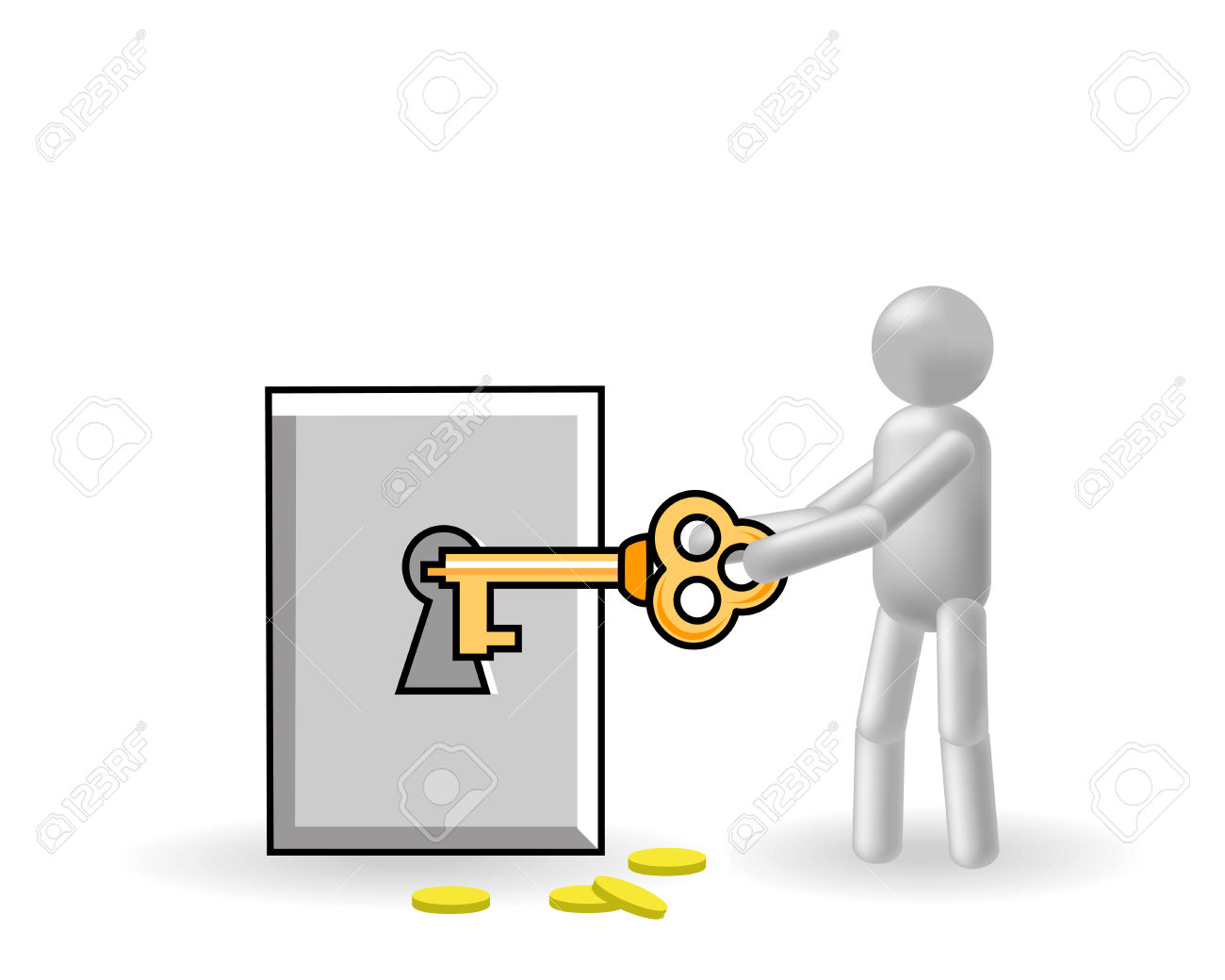 The Grey Man Closes By A Key The Safe Royalty Free Cliparts.