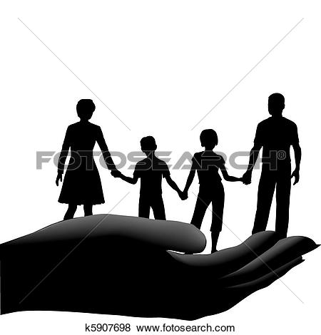 Clip Art of Mother father kids family safe secure in hand k5907698.