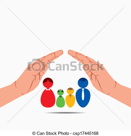 Vector of Mother father kids family safe secure in hand.