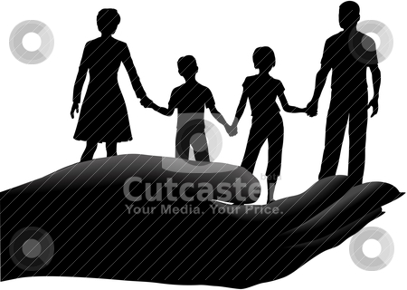 Mother father kids family safe secure in hand stock vector.