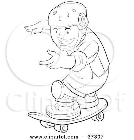 Clipart Illustration of a Black And White Outline Of A Boy Wearing.