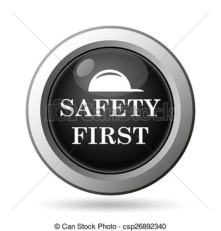 Drawing of Safety first icon. Internet button on white background.