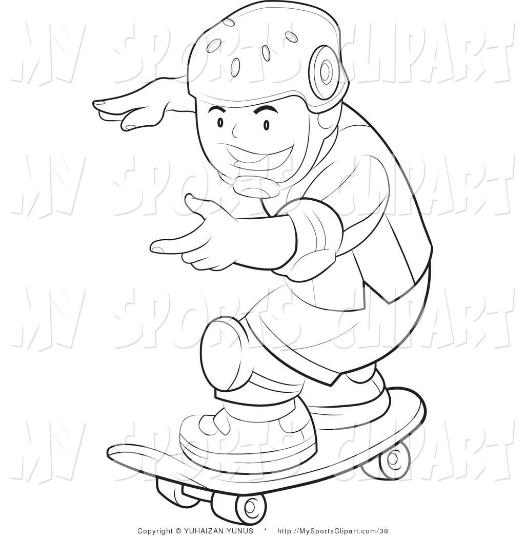 Sports Clip Art of a Coloring Page of a Boy Wearing Safety Pads.