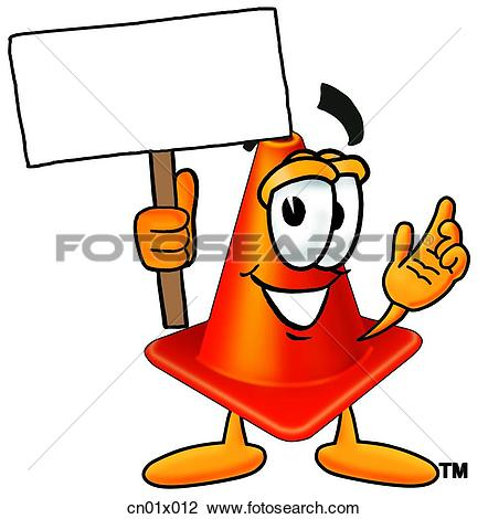 Clip Art of Construction Safety Cone With Sign cn01x012.