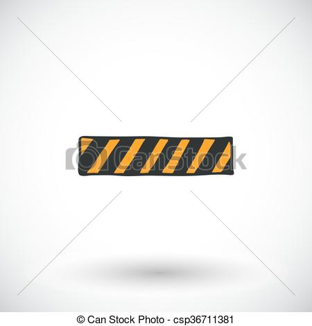 Vector of Caution tape, barrier or safety fence sketch. Hand.