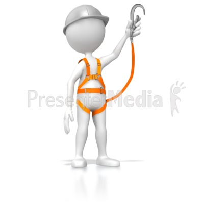 Stick Figure Wearing Safety Harness.