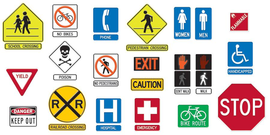 Safety Signs Symbols Bulletin Board Set.
