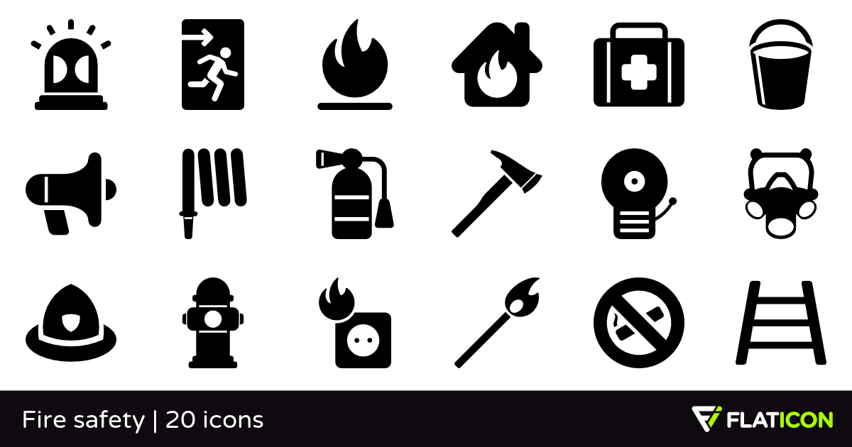 Fire safety 20 free icons (SVG, EPS, PSD, PNG files).
